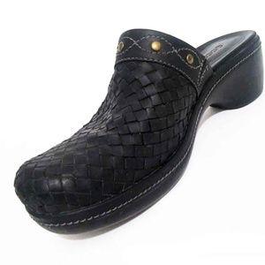 ECCO Black Woven Leather Mule Clogs Brass Studs 38
